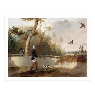 Pheasant Shooting (oil on canvas) Postcard