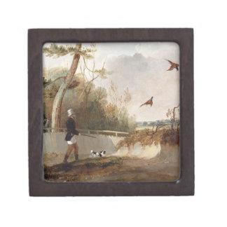 Pheasant Shooting (oil on canvas) Premium Trinket Boxes