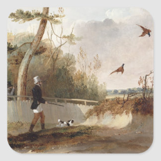 Pheasant Shooting (oil on canvas) Square Sticker
