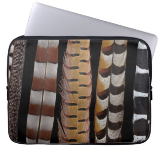 Pheasant tail feathers laptop sleeve