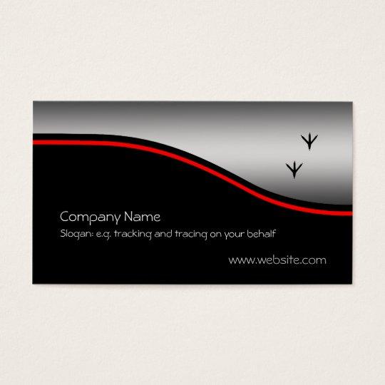 Pheasant Tracks, red swoosh on metallic-look Business Card