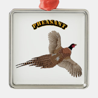 Pheasant with Text Metal Ornament