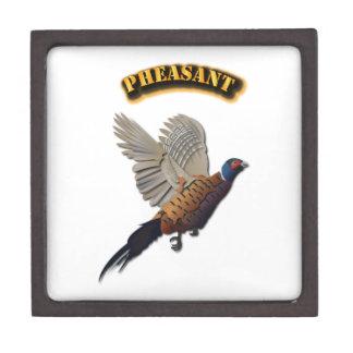 Pheasant with Text Premium Keepsake Boxes