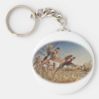 Pheasants Aloft - Great Hunting on the farm Basic Round Button Keychain