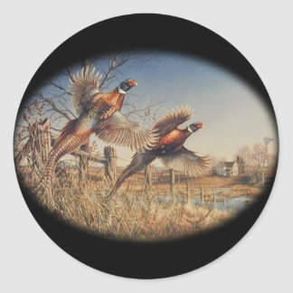 Pheasants Aloft - Great Hunting on the farm Classic Round Sticker