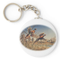Pheasants Aloft - Great Hunting on the farm Keychain