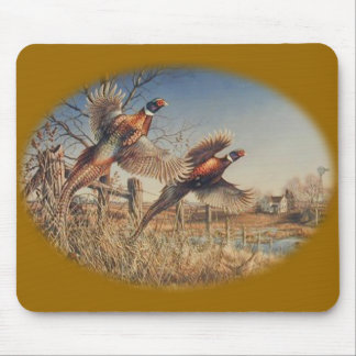 Pheasants Aloft - Great Hunting on the farm Mouse Pad