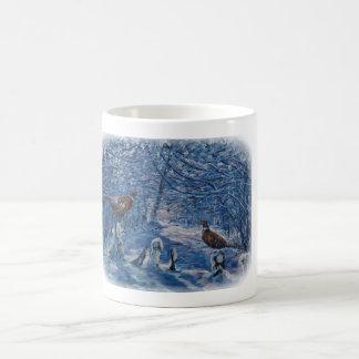 Pheasants in winter snow coffee mug