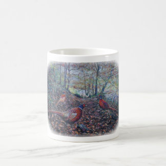 Pheasants in woodland coffee mug