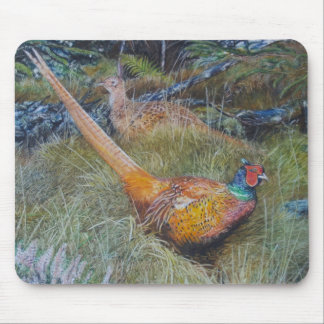 Pheasants in woodland mouse pad