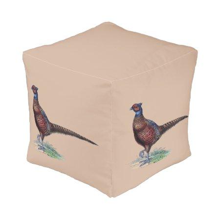 Pheasants Ottoman Pouf Cube Pouf
