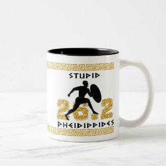 Pheidippides estúpido taza de café de dos colores