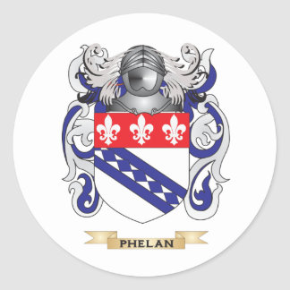 Phelan Coat of Arms Family Crest Round Stickers