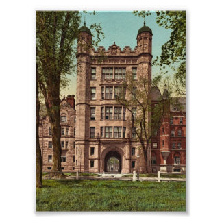 Phelps Hall and gateway Yale College rare Photoch Poster
