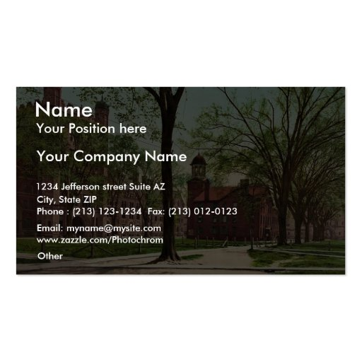 Phelps Hall and Lyceum, Yale College rare Photochr Business Card Template
