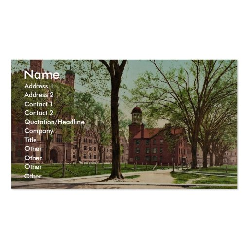 Phelps Hall and Lyceum, Yale College rare Photochr Business Card Templates