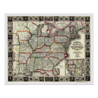 Phelps United States Map 1852 Poster