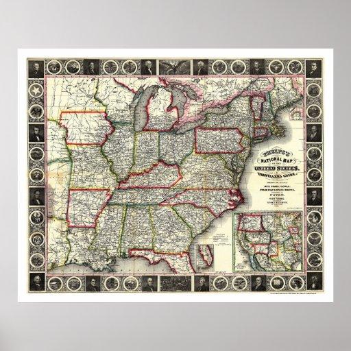 Phelps United States Map 1852 Print