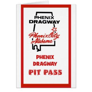 Phenix Dragway Pit Pass Card