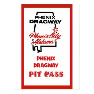 Phenix Dragway Pit Pass Postcard