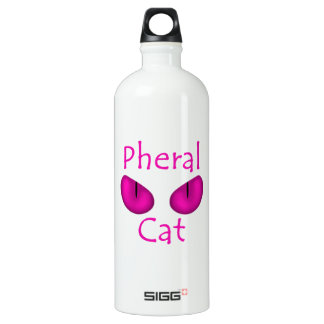 Pheral Cat (Pink Eyes) Aluminum Water Bottle