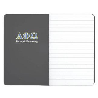 Phi alfa letras amarillas y azules de Omega Cuadernos Grapados