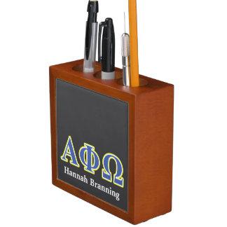 Phi alfa letras amarillas y azules de Omega