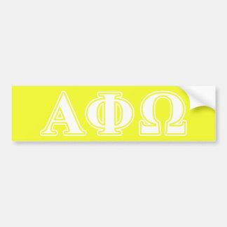 Phi alfa letras blancas y amarillas de Omega Etiqueta De Parachoque