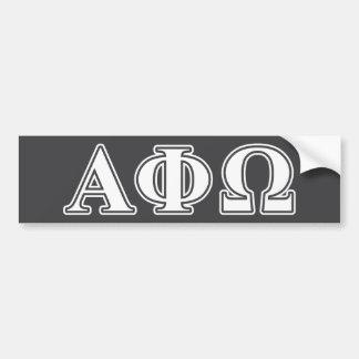 Phi alfa letras blancas y azules de Omega Pegatina De Parachoque