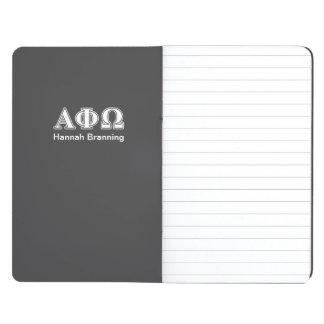 Phi alfa letras blancas y azules de Omega Cuaderno Grapado