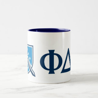 Phi Delta Theta - Blue Greek Lettters and Logo Two-Tone Coffee Mug