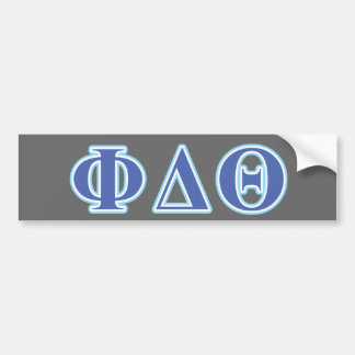 Phi Delta Theta Royal Blue and Baby Blue Letters Bumper Sticker