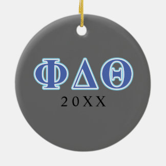 Phi Delta Theta Royal Blue and Baby Blue Letters Ceramic Ornament