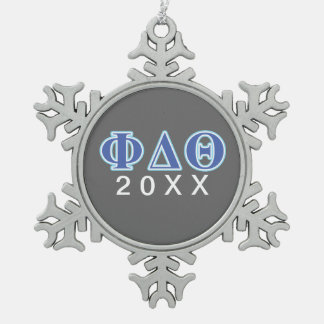 Phi Delta Theta Royal Blue and Baby Blue Letters Snowflake Pewter Christmas Ornament