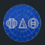 """Phi Delta Theta Royal Blue Letters Dart Board<br><div class=""""desc"""">Check out these official Phi Delta Theta designs! Personalize your own Greek merchandise on Zazzle.com! Click the Customize button to insert your own name, class year, or club to make a unique product. Try adding text using various fonts &amp; view a preview of your design! Zazzle&#39;s easy to customize products...</div>"""