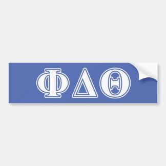 Phi Delta Theta White and Royal Blue Letters Bumper Sticker