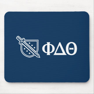 Phi Delta Theta - White Greek Lettters and Logo 3 Mouse Pad
