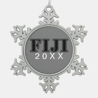 Phi Gamma Delta Black Letters Snowflake Pewter Christmas Ornament