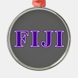Phi Gamma Delta Purple Letters Metal Ornament
