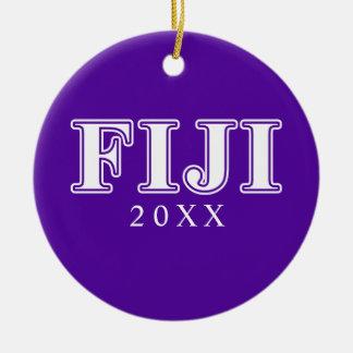 Phi Gamma Delta Whie and Purple Letters Ceramic Ornament