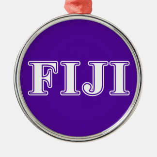 Phi Gamma Delta Whie and Purple Letters Metal Ornament