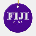Phi Gamma Delta Whie and Purple Letters Double-Sided Ceramic Round Christmas Ornament