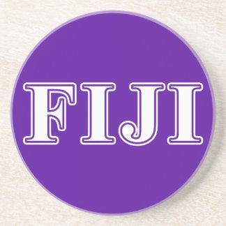 Phi Gamma Delta Whie and Purple Letters Sandstone Coaster