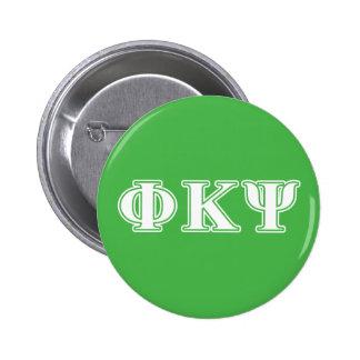 Phi Kappa letras blancas y verdes de la PSI Pin Redondo De 2 Pulgadas