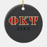 Phi Kappa letras rojas y verdes de la PSI Adorno Redondo De Cerámica