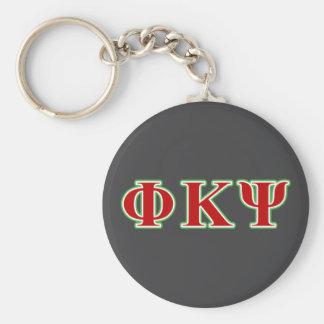 Phi Kappa letras rojas y verdes de la PSI Llavero Redondo Tipo Pin