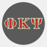 Phi Kappa letras rojas y verdes de la PSI Pegatinas Redondas