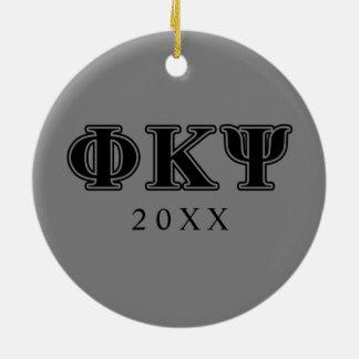 Phi Kappa Psi Black Letters Ceramic Ornament