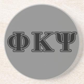 Phi Kappa Psi Black Letters Drink Coasters