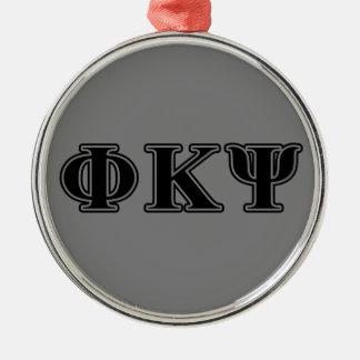 Phi Kappa Psi Black Letters Christmas Tree Ornaments